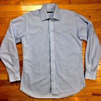 Burberry London Mens Long Sleeve Button Down Shirt Blue Casual Dress Size L 15.5