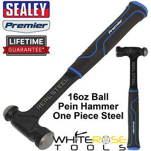 Sealey Ball Pein Hammer 16oz 450g One Piece Steel Head Shaft Premier Rubber Grip