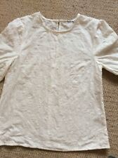 Cream birds embroidered linen cotton mix top brand new small