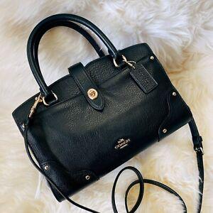 New Coach 37779 Mercer Satchel 24 light gold black Grain Leather Satchel Bag