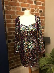 ZARA Pink Multicoloured Sequin Disc Mini Dress SMALL BNWT💕 Xmas