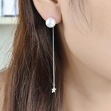 Genuine 925 Sterling Silver 10mm Pearl Drop Star Dangle Thread Threader Earrings