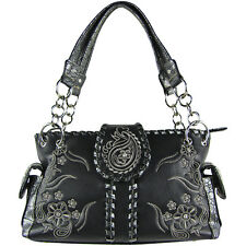 BLACK RHINESTONE FLOWER STITCHED LOOK SHOULDER HANDBAG CONCEALED CARRY
