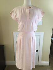Vintage Authentic Chanel Pink Linen Look Dress Sleeveless Size EU 38 US 6