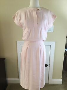 Vintage Authentic Chanel Pink Linen Look Dress Sleeveless Size EU 38 US 6