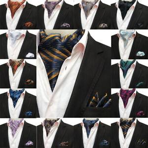 Men's Cravat Paisley Floral Ascot Scarf Handkerchief Pocket Square Matching Set