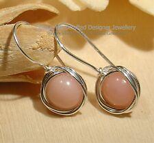 Pink Opal 925 Silver Earrings Handmade Jewellery 1220-2