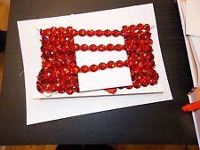 red 16mm Jewel Sequin Indian wedding  cake dance costume ribbon mesh rhinestone
