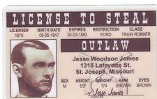 LICENSE TO STEAL Jesse James St Joseph Missouri MO Train Robber Drivers License