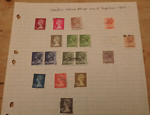 Page of 17 GB Definitive Stamps used Queen Elizabeth II