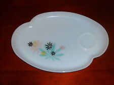 4 - 1950's Federal Glass Snack Trays Pattern #FEG7 Floral Design on Milk Glass