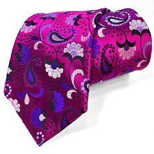 Rare New Duchamp London Multi-color Hot Fuchsia Pink Floral Thick 100% Silk Tie