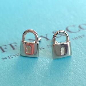 AUTHENTIC Tiffany & Co. 18k Rose Gold Padlock Key Hole Full Set Earrings