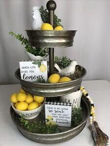 Lemons Make Lemonade Set of 2 Wood Blocks Tiered Tray Decor Farmhouse