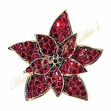 Poinsettia Pin Brooch Finest Crystal Red Green Goldtone Meatl Christmas Holiday