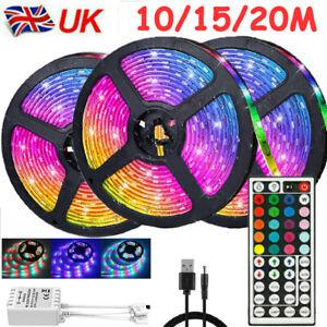 20M LED Strip Lights RGB Light Colour Changing Tape Cabinet TV USB Bluetooth UK