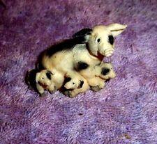 "Small  Pig Figurine MAMA PIG THREE LITTLE PIGS 2"" Long"