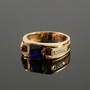 Solid 14k Gold Natural Ruby Sapphire Diamonds Wedding Engagement Boys Mens Ring