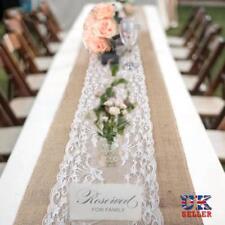 30x275 Christmas Rustic Burlap Hessian Lace Table Runners Wedding Decor Vintage