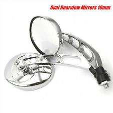 Chrome Universal Motorcycle Oval Rearview Mirrors 10mm Rear View Side Mirrors