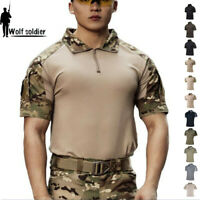 Army Mens Military Short Sleeve T-Shirts Tactical Combat Casual Camouflage Shirt