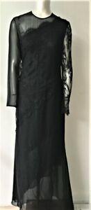 Carolina Herrera Black Silk Floral Lace Gown sz. 10 Made in U.S.A.