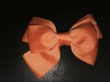 2 X 3 INCH ORANGE DOUBLE BOW WITH ALIGATOR CLIP ADDED PERFECT GIFT UK SELLER