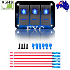 12V/24V 3 Gang Dual LED Light Rocker Switch Panel Bar Car Caravan Boat Rv Blue