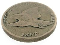 1857 United States of America 1 One Cent Penny Flying Eagle Circulated Coin M586