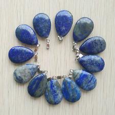 Wholesale 24pcs/lot Natural lapis lazuli flat Water drop Charms Pendants Beads