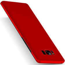 For Samsung Galaxy Phones Ultra Thin Matte Hard Case Cover + Tempered Glass Film
