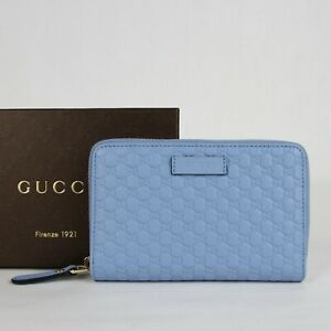 Gucci Women's Light Blue Microguccissima Leather Zip Around Wallet 449423 4503