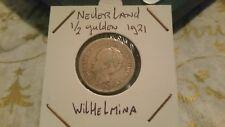 Netherlands 1921 silver 1/2 Gulden Wilhelmina coin.