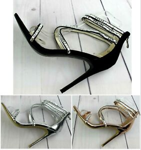NEW WOMENS LADIES HIGH HEEL PEEP TOE CROSS OVER STRAPPY SANDALS SHOES SIZE 3-8