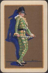 Playing Cards Single Card Old Vintage Art Deco * HARLEQUIN * Artist BARRIBAL Man