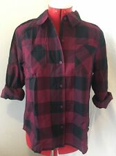 NWT ARIZONA GIRLS SHIRT Large 14 1/2 16 1/2 BURGUNDY BLACK PLAID CROCHET BACK