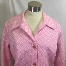 50s Serbin Muriel Ryan Shirt Dress Pink Dot Pattern Thick Polyester Button Front 00004000