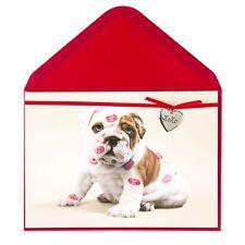 Papyrus Valentine's Day Card - Bulldog Puppy with Lipstick Kisses & XOXO charm