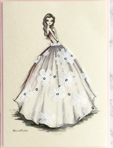 Bella Pilar Papyrus Wedding Bridal Shower Card  Lace Gown  Sequins & embroidery
