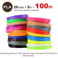 PLA 1.75mm Filament 3D Printer Pen Refill Kit 16 Feet Per Color With 20 Color D#