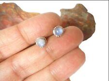 Fiery Rainbow MOONSTONE  Sterling Silver 925 Gemstone Stud Earrings - 5 mm