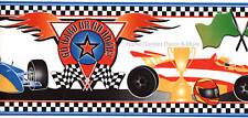 FORMULA 1 Race Cars Racing Flag Black White Check Peel Stick Wall paper Border