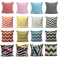 Geometric Stripe Wave Zig Zag Pillow Case Cushion Cover Linen Cotton Home Decor
