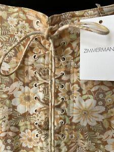 BNWT 100% Authentic ZIMMERMANN Zippy Lace-up Linen Mini Skirt 0P
