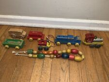 Vintage Holgate 5135 Wooden Train Pull String and other wood toys beads lot