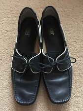 Hotter Navy Leather Shoes With White Detail Size 9