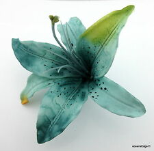 "6"" Variegated Teal Blue Tiger Lily Poly Silk  Flower Hair Clip,Pin Up,Updo"