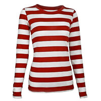 Adult Women's Long Sleeve Red White Waldo Cosplay Striped Shirt XS S M L XL XXL
