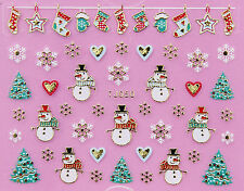 Christmas GOLD Snowflakes Snowman Xmas Tree Stocking 3D Nail Art Sticker Decal