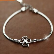 Echt 925 Sterling Silber Armband Klee Glück Silberarmband Herzarmband Damen NEU
